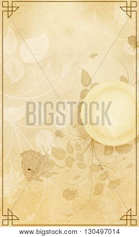 Old paper background with flowersretro frame and decorative border.