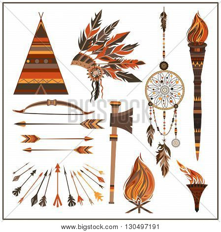 Set elements ethnic style. Dream Catcher. Isolated arrows, feathers, beads, wigwam, onions fire, tomahawk torch . The concept for the design. Vector illustration