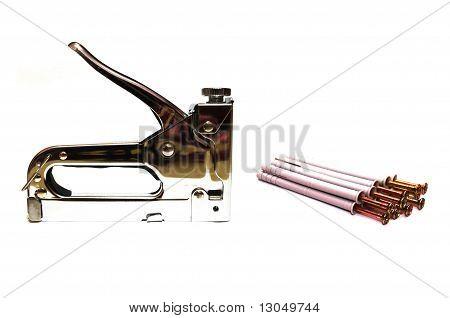 Furniture stapler and screws