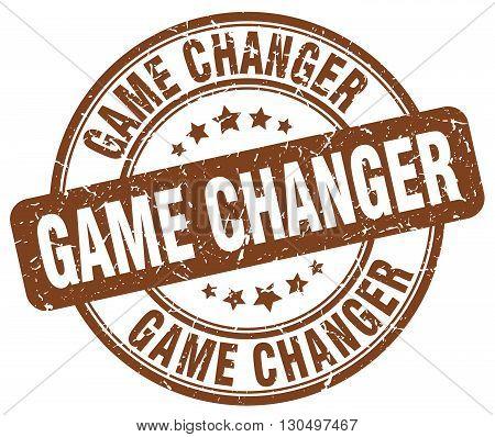 game changer brown grunge round vintage rubber stamp