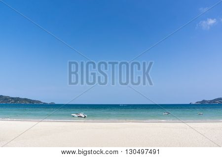 landscape shot. Sea beach and blue sky.
