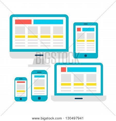 Responsive Web Design Flat Gadgets Over White