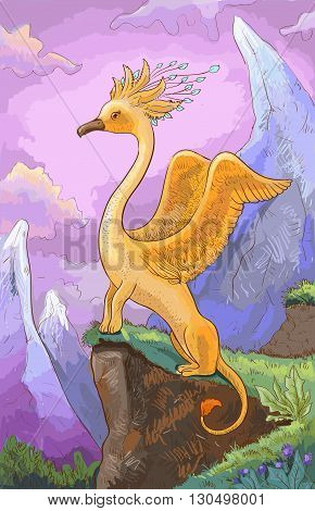 Fairy creature against a rocky landscape. Vector hand drawn painting. A creature with the head of a bird or animal body.