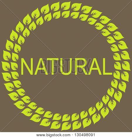 Narural frame label and sticker. Vector Background.