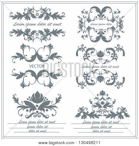 Set floral ornaments in baroque, victorian style. Isolated vintage victorian elements for tattoos, printing, textiles on a white background. Vector illustration