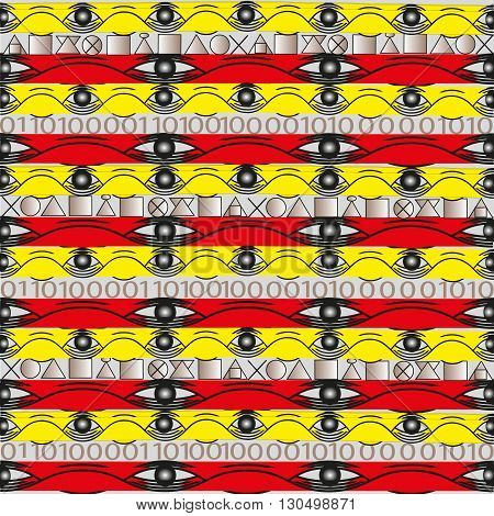 Illustration of bright seamless ornament Background bright pattern in red seamless strip striped and yellow, binary code with the imitation of ancient literature for decoration and design