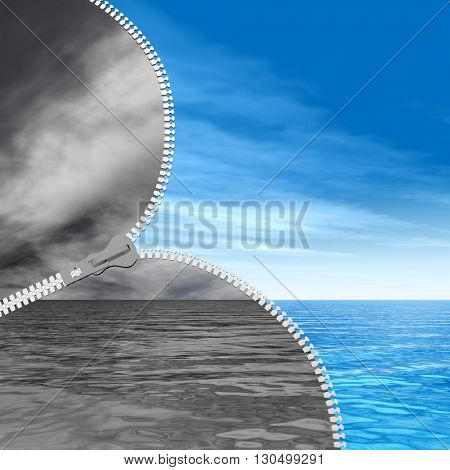 3D illustration of concept or conceptual abstract zipper, dramatic dark cloudy sky and sea to sunny summer blue sky with clouds background