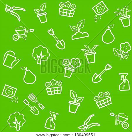 Vector, seamless, green background with white linear icons flowers, seedlings and tools for the garden.