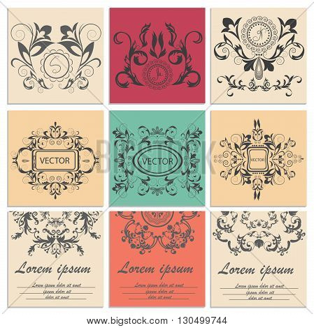 Concept of greeting cards. Vector floral frame with copy space for text in trendy baroque style monogram design element. Vector illustration
