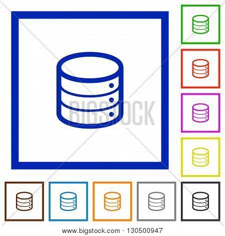 Set of color square framed database flat icons on white background