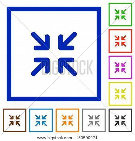 Set of color square framed minimize flat icons on white background