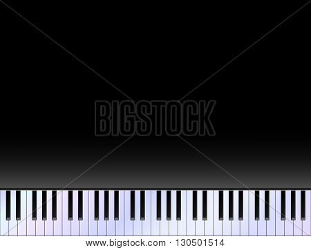 Piano keyboard against black copy space background vector