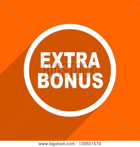 extra bonus icon. Orange flat button. Web and mobile app design illustration