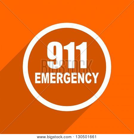 number emergency 911 icon. Orange flat button. Web and mobile app design illustration
