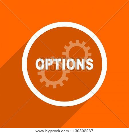 options icon. Orange flat button. Web and mobile app design illustration