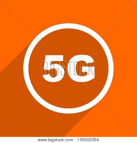 5g icon. Orange flat button. Web and mobile app design illustration