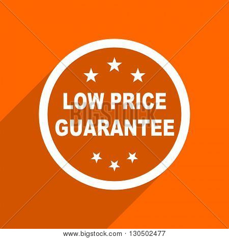 low price guarantee icon. Orange flat button. Web and mobile app design illustration