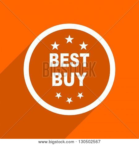 best buy icon. Orange flat button. Web and mobile app design illustration