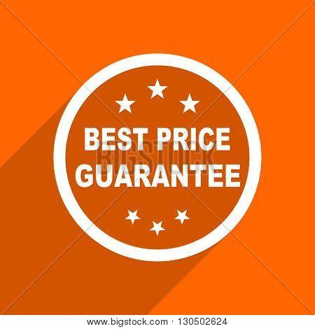 best price guarantee icon. Orange flat button. Web and mobile app design illustration