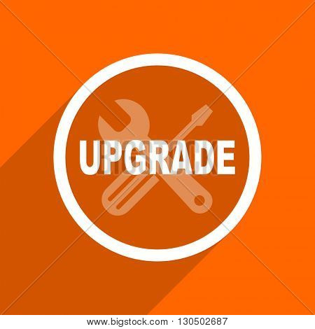 upgrade icon. Orange flat button. Web and mobile app design illustration