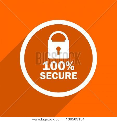 secure icon. Orange flat button. Web and mobile app design illustration