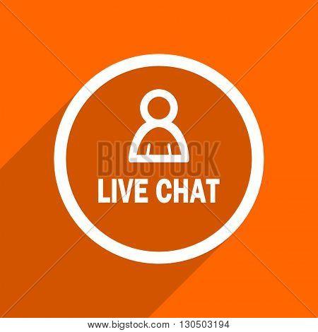 live chat icon. Orange flat button. Web and mobile app design illustration