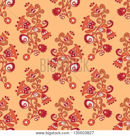 Seamless pattern with abstract psychedelic flowers, background