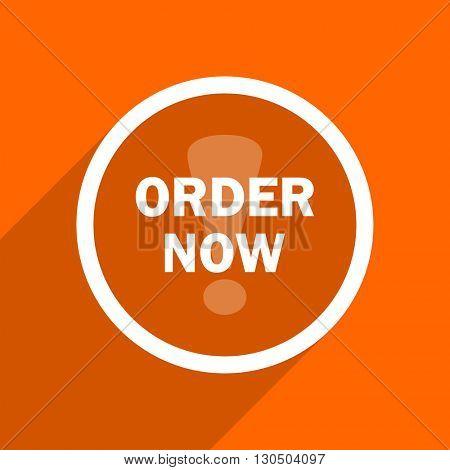 order now icon. Orange flat button. Web and mobile app design illustration