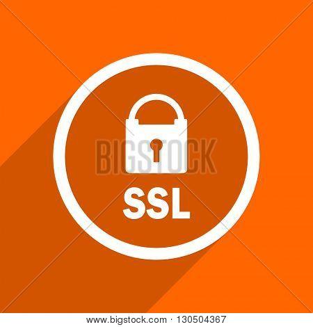 ssl icon. Orange flat button. Web and mobile app design illustration