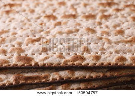 Jewish Matzo Flatbread Texture Close-up, Horizontal