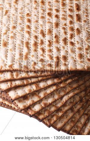 Pile Of Jewish Kosher Matzah Macro Isolated On White Vertical