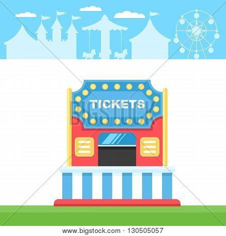 Ticket cart or booth in carnival festival on the background the silhouette of amusement park. Vintage and retro style Vector illustration on white background for web design banner and print
