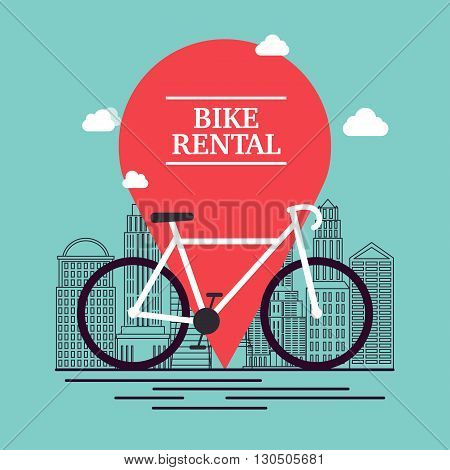 City Bike Hire Rental Tours For Tourists And City Visitors. Vector Poster Or Banner Template.