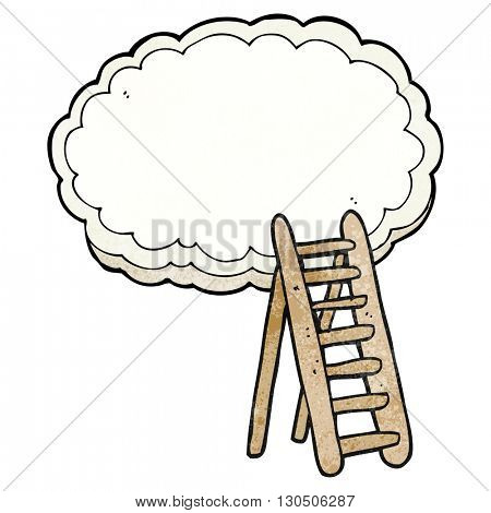 freehand textured cartoon ladder to heaven