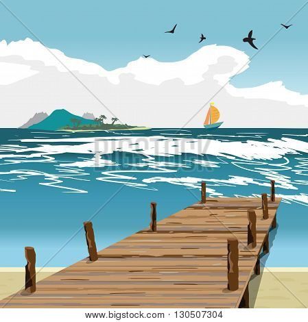 Sea landscape summer beach, old wooden pier, island and yacht in the distance. View with wooden pier in summer vacation. Summer background on beach. Vector flat illustration