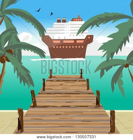 Sea landscape summer beach, old wooden pier, cruise ship in the distance. View with palm trees on a beach, wooden pier in summer vacation. Summer background on beach. Vector flat illustration