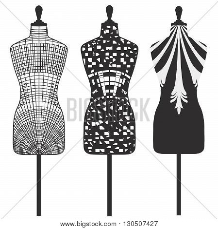 Female tailors mannequin isolated on white background with decorative motifs. Vector Illustration