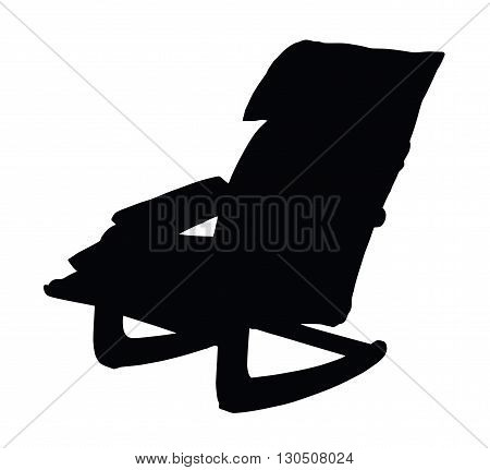 Silhouette of rocking chair isolated on white background