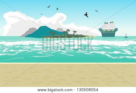 Sea landscape summer beach, cruise ship. Beach of the sea to the island and a cruise liner in the distance in summer vacation. Background on beach. Vector flat illustration