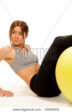 Fitness Instructor In Gym Workout Crunches Exercises