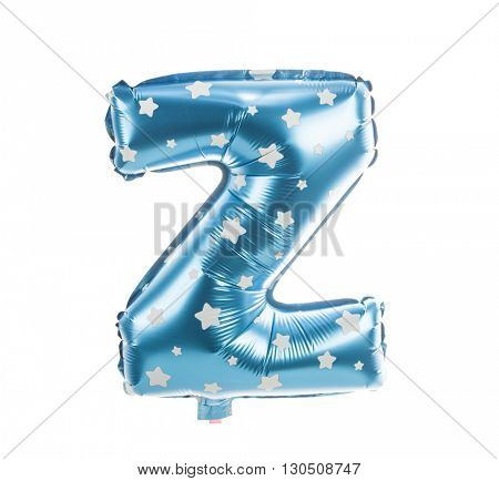 Balloon font with stars part of full set upper case letters, Z