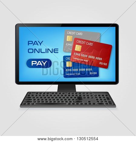 pay online and  online shopping  concept - computer with credit cards on screen Vector illustration.