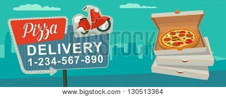 Retro night sign with an arrow. Billboard in retro style with lights. Delivery pizza on red moped. Isolated vector flat illustration on city background. For banner poster presentation.