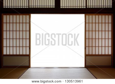 Traditional Japanese wood and rice paper doors and tatami mat flooring