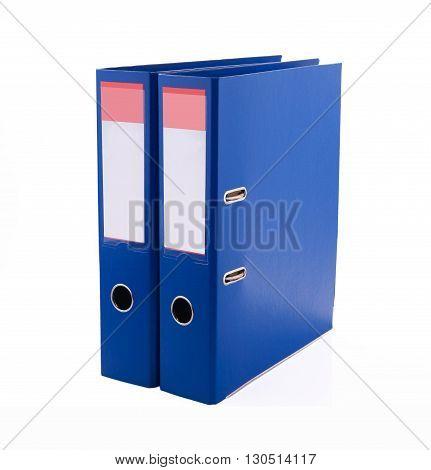 Blue files folder, isolated on white background