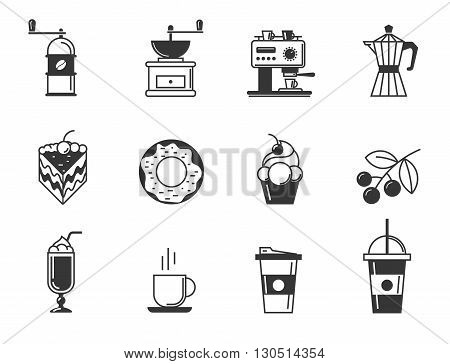 Cafe and confectionery icon set of coffee and pastries. Sweet baked goods, desserts and coffee. Vector illustration for your design