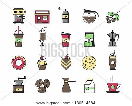 Coffeeshop exterior, coffee machine, cocktails and coffee equipment cafe with sweets retail service bakery. Line modern Flat design icon vector illustration set for your web design