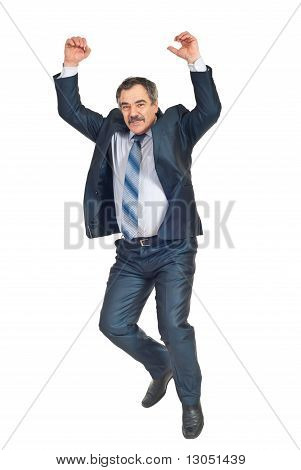 Mature Business Man Jumping