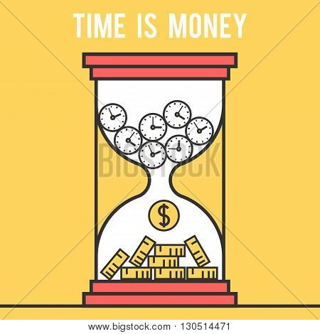 Icon design concept time is money, hourglass. Modern flat line vector logo pictogram illustration