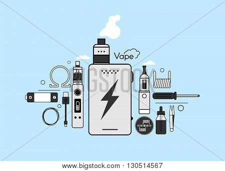 Set of elements for Vapor bar and vape shop, electronic cigarette icon, no smoke. Line modern Flat design icon vector illustration set for your web design